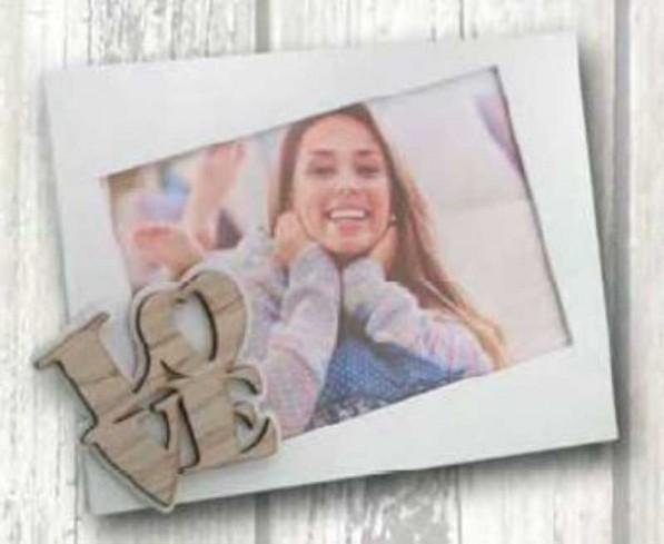 Portafoto in metallo bianco con applicazione Love in legno FRA-01/1/2/3 Francesca Negò