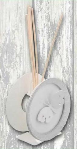 Profumatore in metallo bianco e grigio con applicazione farfalla con strass EVA-02 Serie Eva Negò