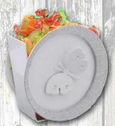 Portapenne in metallo bianco e grigio con applicazione farfalla con strass EVA-05 Serie Eva Negò