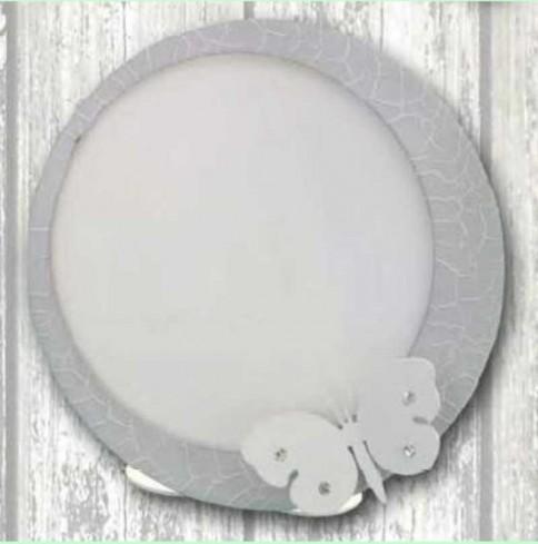 Portafoto rotondo in metallo bianco e grigio con applicazione farfalla con strass EVA-01-1-2 Serie Eva Negò