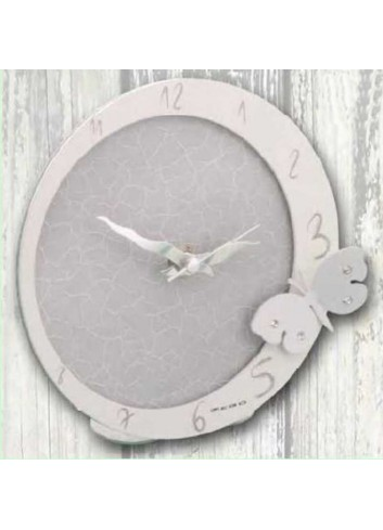 Orologio in metallo bianco e grigio con applicazione farfalla con strass EVA-03-08 Serie Eva Negò