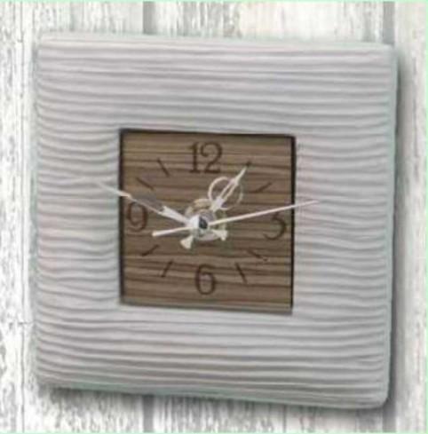 Orologio rigato in ceramica bianca con quadrante in legno ELS-03/08 Elisabeth Negò