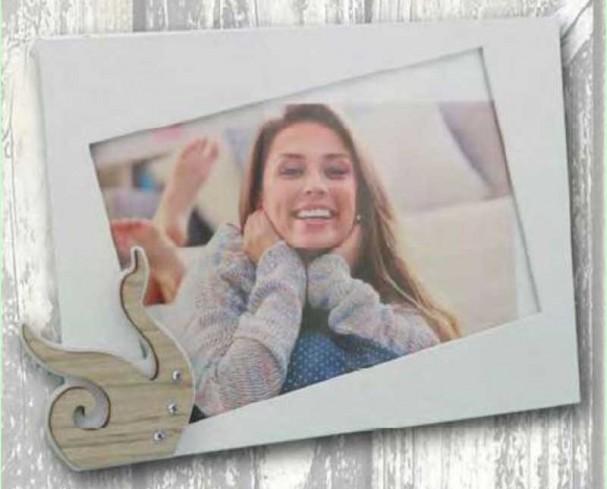 Portafoto in metallo bianco con applicazione Cigno in legno con strass CIG-01/1/2/3 Cigno Negò