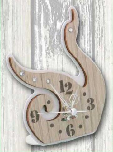 Orologio Cigno in metallo bianco e legno con strass CIG-03/06 Cigno Legno Negò