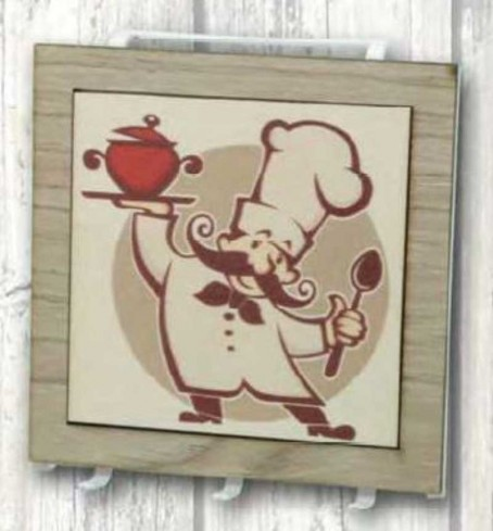 Appendino a tre in metallo bianco con stampa Chef su legno CUO-02 Cuoco Negò