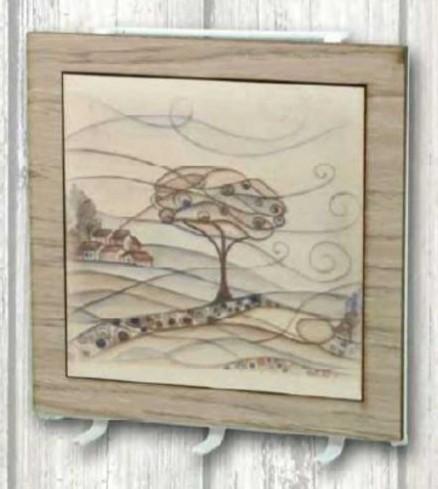Appendino 3 posti in metallo bianco con stampa Paesaggio su legno PAL-02 Serie Paesaggio Legno Negò