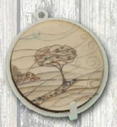 Appendino singolo in metallo bianco con stampa Paesaggio su legno PAL-01 Serie Paesaggio Legno Negò