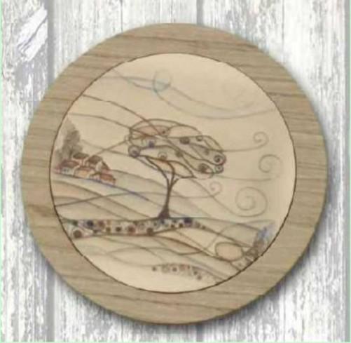 Sottopentola in metallo bianco con stampa Paesaggio su legno PAL-S Serie Paesaggio Legno Negò