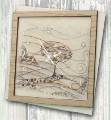 Orologio in metallo bianco con stampa Paesaggio PAL-03-08-06 Serie Paesaggio Legno Negò