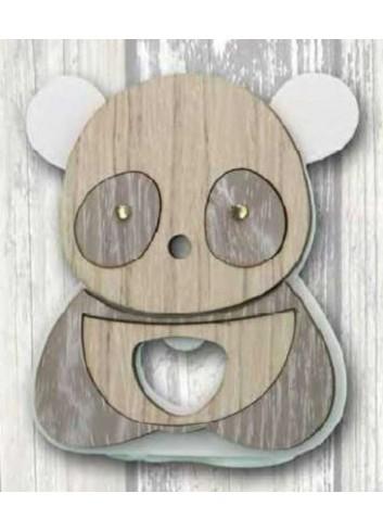 Apribottiglie da appoggio Panda in metallo bianco e legno con strass SPL-A Panda Legno Negò