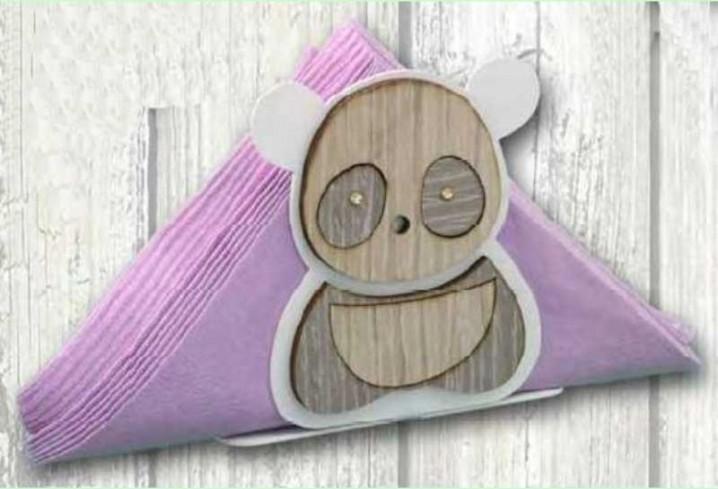 Portacarte Panda in metallo bianco e legno con strass SPL-04 Panda Legno Negò