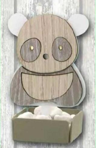 Profumatore Panda in metallo bianco e legno con strass SPL-02 Panda Legno Negò