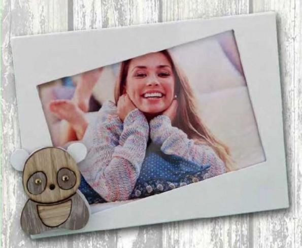 Portafoto in metallo bianco con applicazione Panda in legno con strass SPL-01-1-2-3 Serie Panda Legno Negò