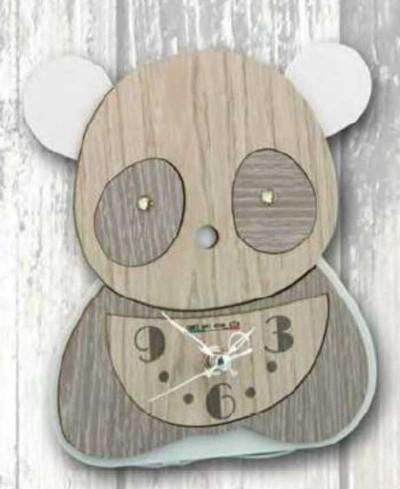 Orologio Panda in metallo bianco e legno con strass SPL-03/06 Panda Legno Negò