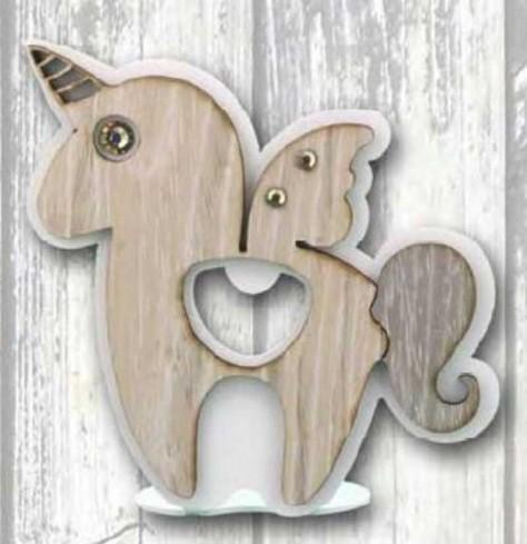 Apribottiglie da appoggio Unicorno in metallo bianco e legno con strass SUL-A Unicorno Legno Negò