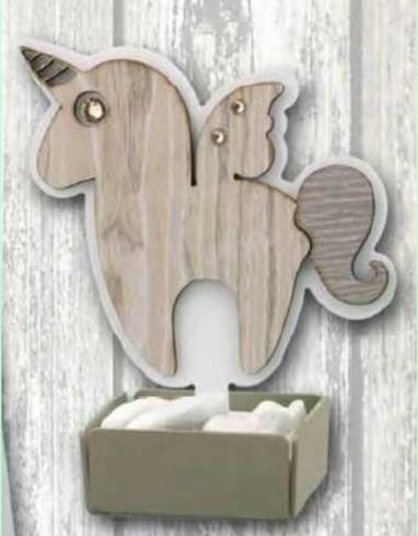 Profumatore Unicorno in metallo bianco e legno con strass SUL-02 Unicorno Legno Negò