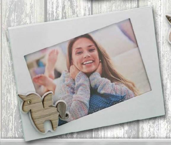 Portafoto in metallo bianco con applicazione Unicorno in legno con strass SUL-01/1/2/3 Unicorno Legno Negò