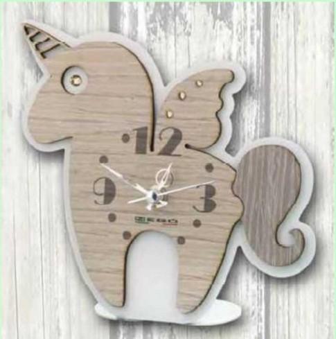 Orologio Unicorno in metallo bianco e legno con strass SUL-03/06 Unicorno Legno Negò