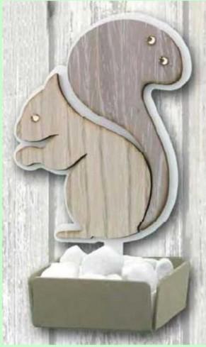 Profumatore Scoiattolo in metallo bianco e legno con strass SSL-02 Scoiattolo Legno Negò
