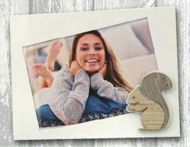 Portafoto in metallo bianco con applicazione Scoiattolo in legno con strass SSL-01/1/2/3 Scoiattolo Legno Negò