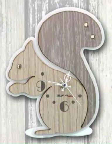Orologio Scoiattolo in metallo bianco e legno con strass SSL-03/06 Scoiattolo Legno Negò