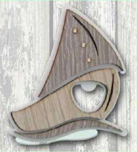 Apribottiglie da appoggio Barca in metallo bianco e legno con strass SBL-A Barca Legno Negò