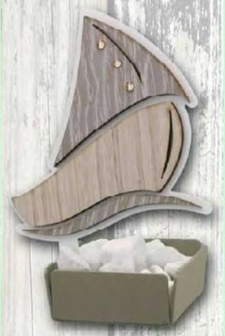 Profumatore Barca in metallo bianco e legno con strass SBL-02 Barca Legno Negò