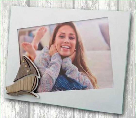 Portafoto in metallo bianco con applicazione Barca in legno con strass SBL-01/1/2/3 Barca Legno Negò