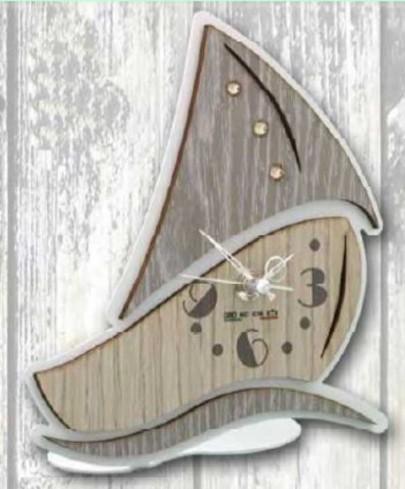 Orologio Barca in metallo bianco e legno con strass SBL-03-06 Serie Barca Legno Negò