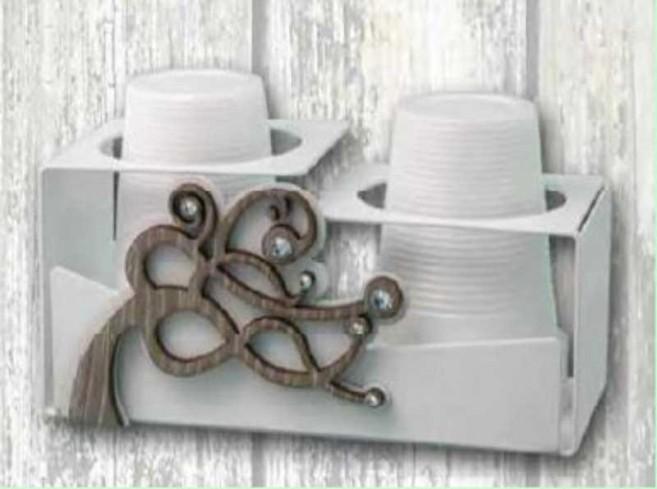 Portabicchieri doppio in metallo con applicazione in legno Albero + strass SAV-09 Serie Albero Vento Negò