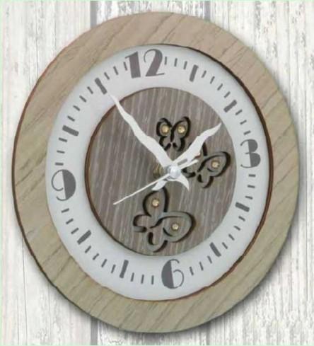 Orologio rotondo in metallo con applicazione legno farfalle e strass INT-03-08-06 Serie In Time Negò
