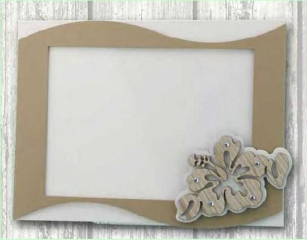 Portafoto in metallo con applicazione legno Hibiscus + strass HIB-01-1-2-3 Serie Hibiscus Negò