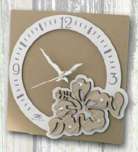 Orologio in metallo con applicazione legno Hibiscus + strass HIB-03-08-06 Serie Hibiscus Negò