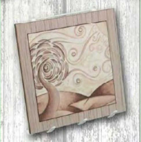 Appendino a 3 in metallo e legno con stampa Albero ALS-A Albero Sara Negò