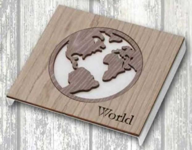 Sottopentola Mondo in metallo con applicazione in legno STP-16/12 Sottopentola 019 Negò