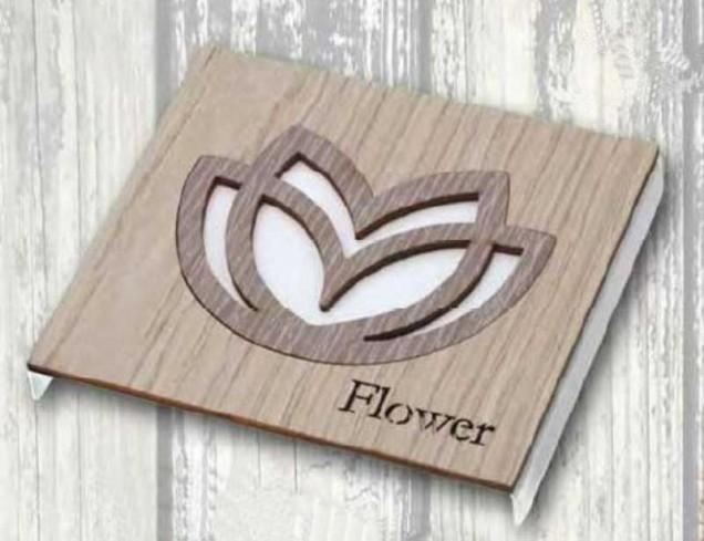 Sottopentola in metallo + applicazione Tulipano in legno STP-14-10 Serie Sottopentola 019 Negò