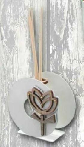 Profumatore in metallo con applicazione Tulipano in legno e strass TUL-02 Tulipano Negò