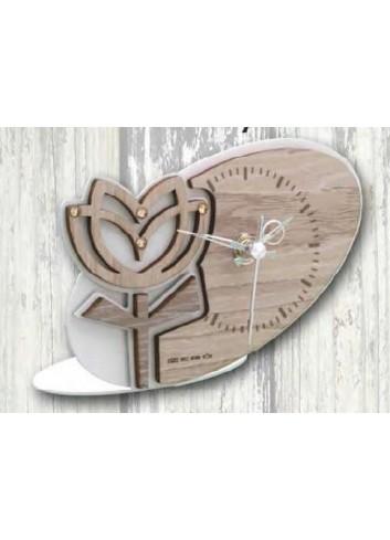 Orologio in metallo con applicazione Tulipano in legno e strass TUL-03/08/06 Tulipano Negò