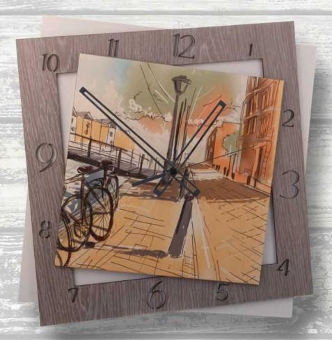 Orologio in metallo bianco e legno AMS-45 Amsterdam Negò