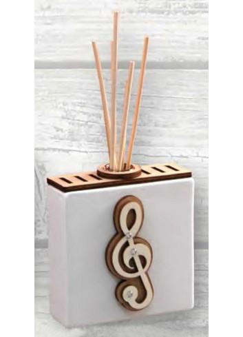 Profumatore in ceramica con applicazione chiave di sol in legno e strass ABC-01 Abbraccio Negò