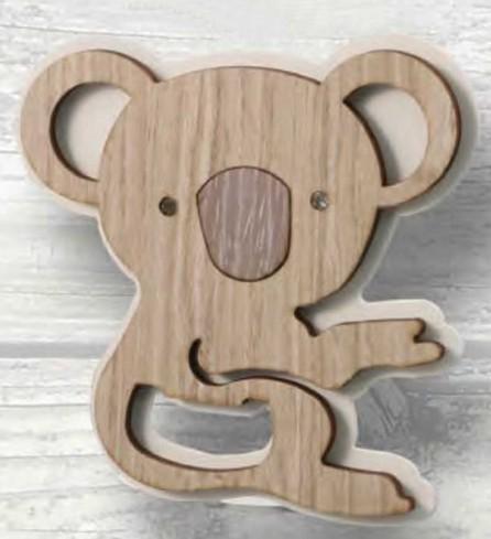 Apribottiglie Koala in metallo bianco e legno con strass KO-01 Basic Koala Negò