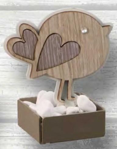 Profumatore con vasetto Uccellino in metallo bianco e legno con strass CIP-02 Basic Cip Negò