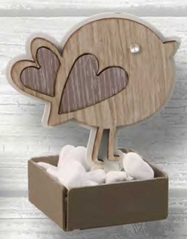Profumatore con vasetto Uccellino in metallo bianco e legno con strass CIP-02 Serie Basic Cip Negò