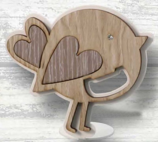 Apribottiglie Uccellino in metallo bianco e legno con strass CIP-01 Serie Basic Cip Negò
