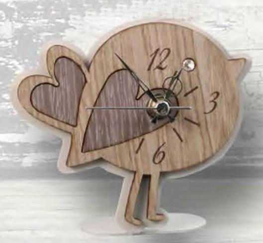 Orologio Uccellino in metallo bianco e legno con strass CIP-03-04 Serie Basic Cip Negò