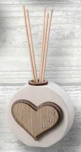 Profumatore in ceramica con applicazione cuore in legno e strass SFR-04 Formelle Rotonde Negò