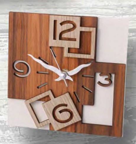 Orologio da appoggio con applicazione in legno QUA-03-08-06 Serie Quadra Negò