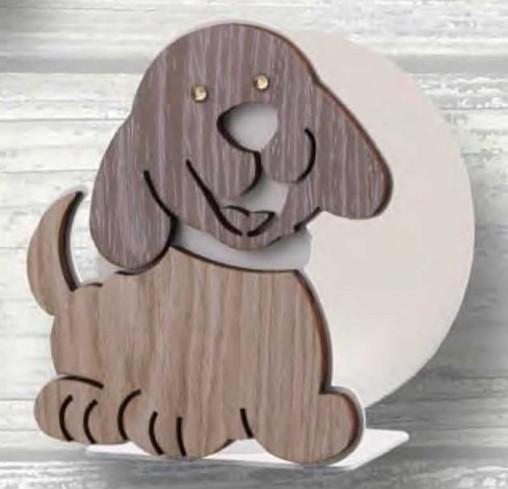 Portacarte Cagnolino in metallo bianco e legno con strass CLS-04 Serie Cane Legno Negò