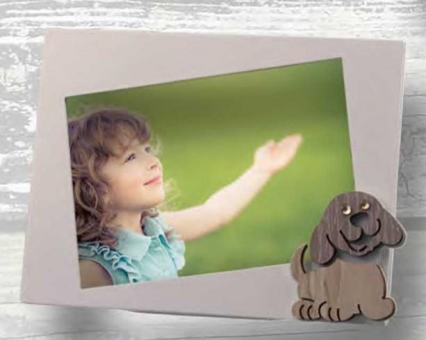Portafoto Cagnolino in metallo bianco e legno con strass CLS-01-1-2-3 Serie Cane Legno Negò