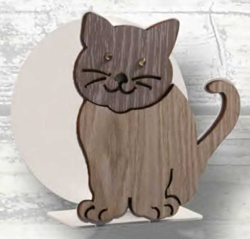 Portacarte Gattino in metallo bianco e legno con strass SML-04 Serie Gatto Legno Negò